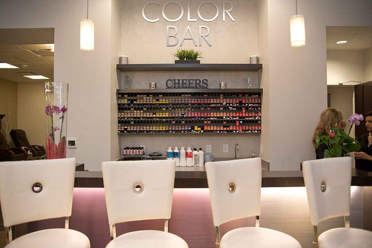 A view of the Evolve Salon and Spa hair color bar