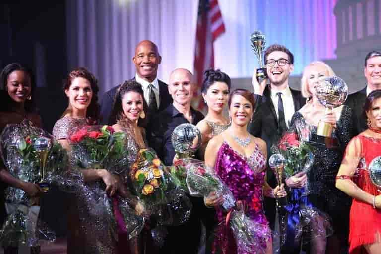 Evolve Salon & Spa does hair for Dancing with the Stars and this photo shows all the contestants of the 2017 event
